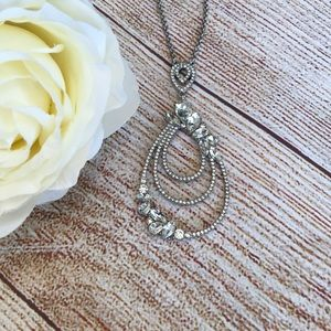"""✨ I.N.C. Silver-Tone Crystal Pendant Necklace 30"""""""